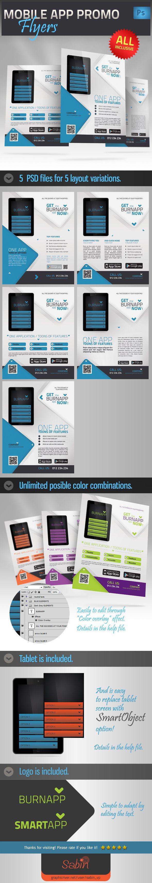 Mobile App Promotion Flyer by Valentin Sabin Plesa, via Behance
