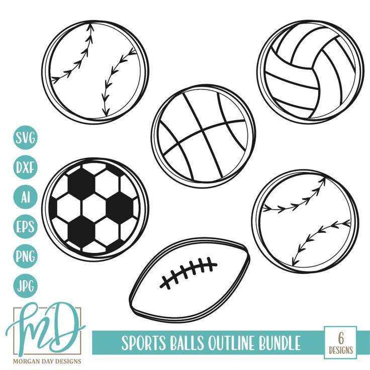outline sports svg balls bundle bundles mom silhouette cricut visit designs