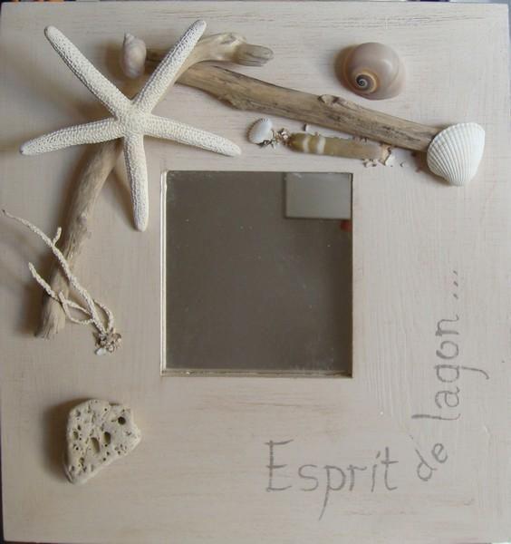 Miroir blanc bois flotté