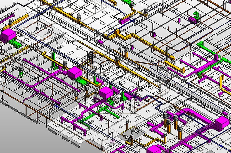 This is an image of 3D MEP coordination model where the pipes and ducts have been integrated effectively. View more MEP coordination projects at http://www.teslaoutsourcingservices.com/mep-samples.php.