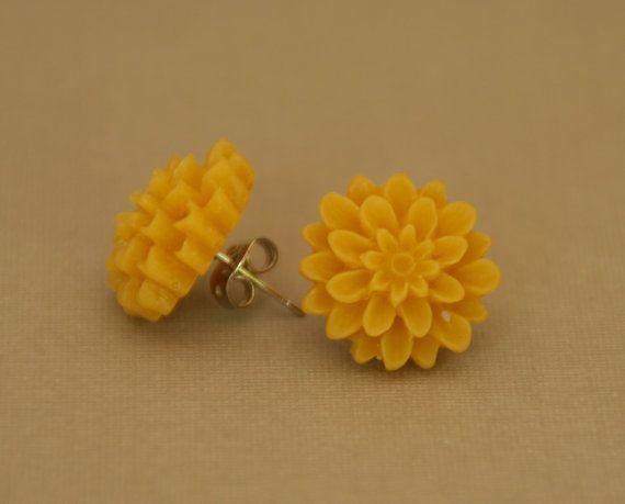 Yellow flower ear rings
