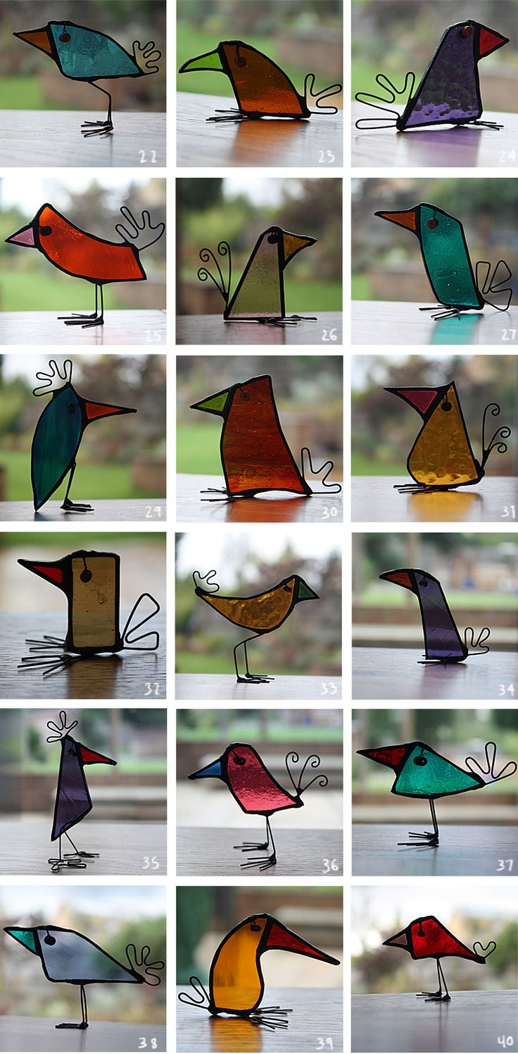 Birds - Glass Art...now I have an idea what to do with my scraps. :)
