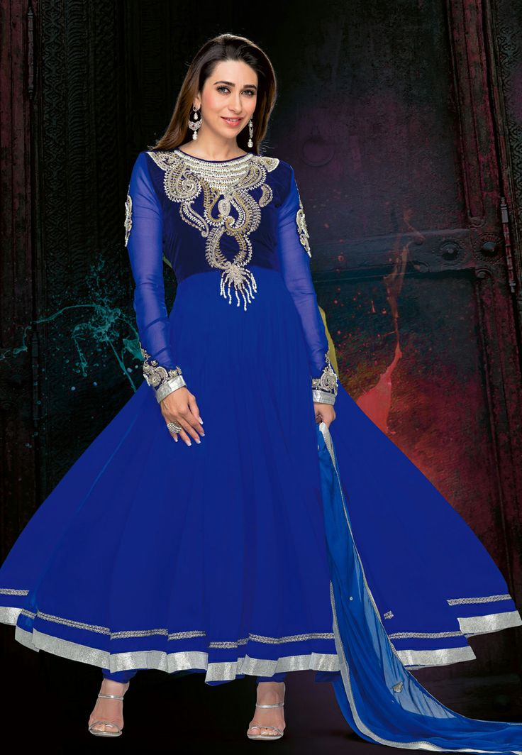 Blue Faux Georgette and Velvet Churidar Kameez @ $174.24