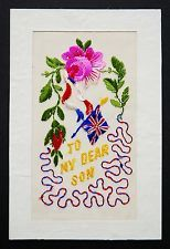 Genuine WW1 Embroidered Silk Postcard To My Dear Son Union Jack Patriotic