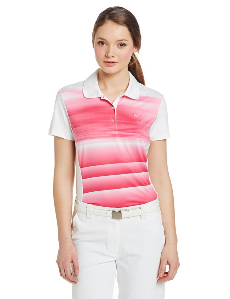 Stretch dryCELL fabrication on this womens NA digi-sky golf polo shirt by Puma provides moisture wicking properties to help keep you dry and comfortable