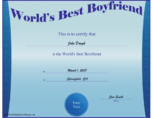 Not For Just Any Boyfriend This Sleek Blue Certificate