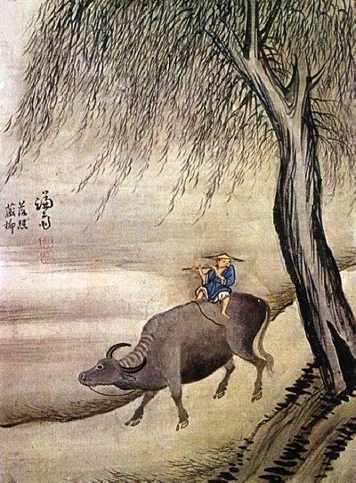 (Korea) 落照長柳 by Jeong Seon (1676-1759). ca 18th century CE. colors on silk. 23.5 x29.5 cm. 베네딕도회 왜관수도원.