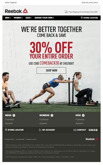 Best practice re-engagement email from Reebok. See the code here - https://www.kuratedemail.co/email-reebok