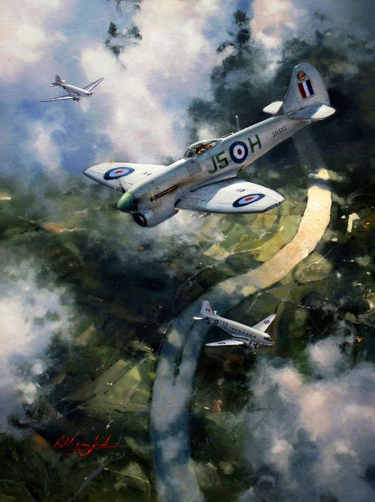 Hawker Tempest V of 3 Squadron RAF over Germany in 1947, by Anthony Cowland