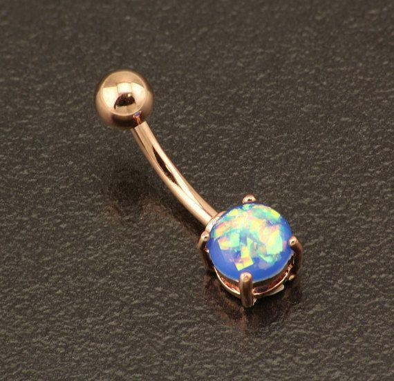 Opale bleu piercing nombril. Anneau de ventre base élégante