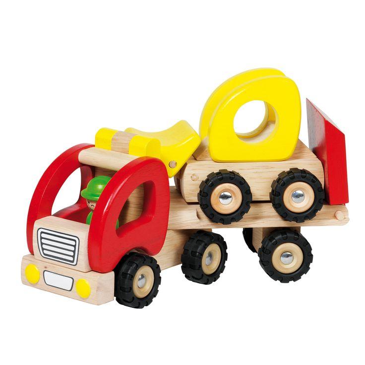 Rij je graafmachine of ander voertuig op de laadbak en ga snel naar de bouwplaats om mee te helpen met de bouw. Heb jij grote, zware machines of grote voorwerpen die je wilt verplaatsen dan mag deze houten vrachtauto met dieplader niet ontbreken in je speelgoed collectie. Geschikt voor kindjes vanaf 2 jaar. Te vinden bij Sassefras Meisjes Speelgoed voor écht peuter en kleuter speelgoed.