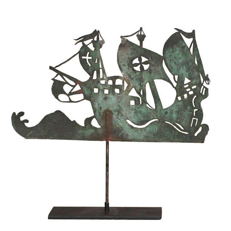 19th century new england sheet copper spanish galleon weather vane