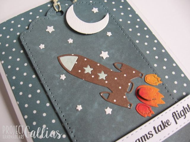 ProjectGallias: #projectgallias Kartka z kosmosem, gwiazdami, księżycem i rakietą: Handmade card with space rocket, moon and stars. Let your dreams take flight