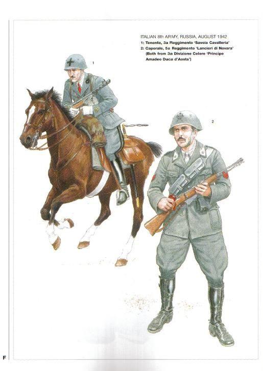 """Regio Esercito, 8a ARMATA, Russia, 1942 . 1 Tenente, 3o reggimento """"Savoia cavalleria"""" - 2 Caporale. 5o Reggimento """"Lancieri di Novara"""". Entrambi della divisione celere """"Amedeo duca di Aosta"""""""