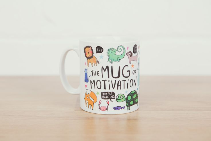 The Mug of Motivation - Illustrative - Gift for her - Gift for him - Exam - New Job - Confidence Boost - Mothers day (7.50 GBP) by KatieAbeyDesign