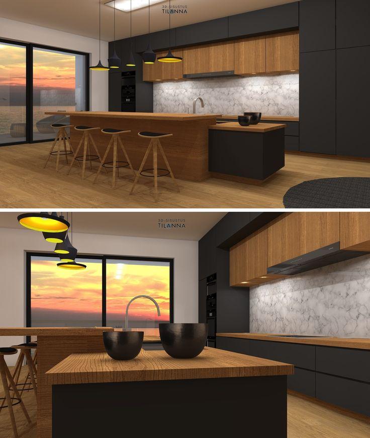 Moderni keittiö, Keittiön kokonaisvaltainen sisustussuunnitelma, kiintokalustesuunnittelu, valaistussuunnittelu /tammilattia, musta ja tammi keittiössä, marmori välitilassa, keittiön tasot massiivitammea, valaisimet tom dixon beat, baarijakkarat Michael Poulsen Bcdt chair/ 3D-sisustus Tilanna