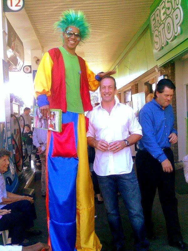 Our giant stilt clown