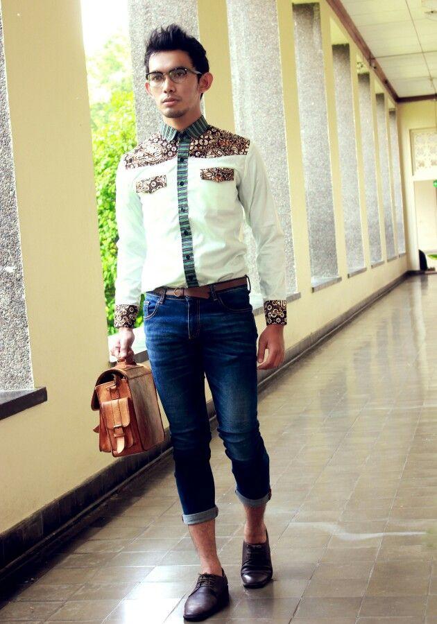 Mavazi menswear ... contemporer Javanese Batik mix traditional weaving stripe fabric - Lurik ... Indonesian pattern