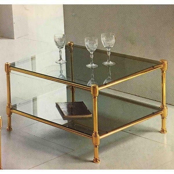 Tavolino da salotto classico quadrato in ottone e piani vetro