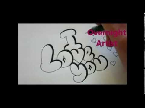 How To Write I Love You Cool Bubble Graffiti Letters Art