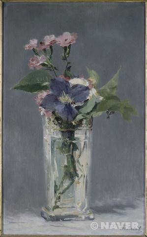 에두아르 마네 '크리스탈 병에 꽂혀있는 카네이션과 클레마티스꽃' 19세기경 오르세 미술관 소장
