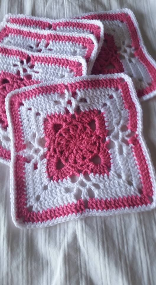 Lorrea Lovelace Crane - CCC FB page.   I love her colors and this pattern - available on Ravelry . Victorian Lattice Square. She used an F hook and Bernat Softee Baby yarn.