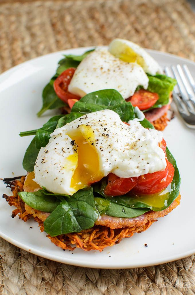 Start the day with these delicious Syn Free Sweet Potato Hash Brown Breakfast Stacks. A filling breakfast that does not use your Healthy Extra allowance.