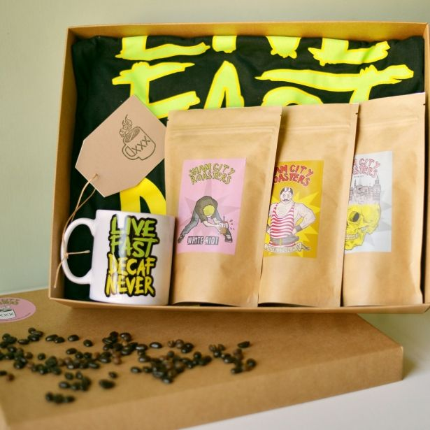 Coffee Gift Set - Live Fast Decaf Never, Coffee Gift box, Coffee Gift basket, Coffee Gifts Specialist Craft Coffees Roasted In London By Sham City Roasters by Sham City Roasters on Gourmly