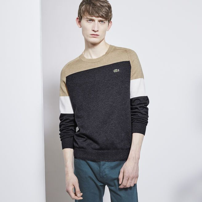 Lacoste LIVE crew neck sweater in tricolor jersey