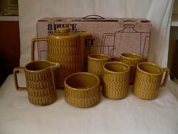 8 piece titian Coffee Set & original box - would love to have this!