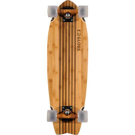 The Pin City cruiser board from Globe. Surf the asphalt waves as soon as this pre-assembled cruiser board arrives at your door. It's ready to ride out of the box.Note: Components such as trucks and wheels may differ in color from those shown in photo.