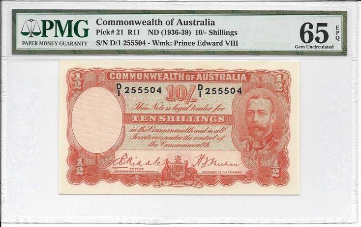 Commonwealth of Australia - 10 Shillings, nd (1936-39). PMG 65 EPQ. Ex. Rare.