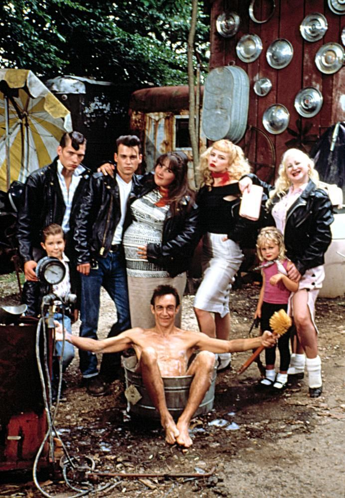 """Iggy Pop (as Belvedere Rickettes), Jonathan Benya (as Snare-Drum), Darren E. Burrows (as Milton Hackett), Johnny Depp (as Wade  """"Cry-Baby"""" Walker), Ricki Lake (as Pepper Walker), Traci Lords (as Wanda Woodward), Jessica Raskin (as Susie-Q) and Kim McGuire (as Mona """"Hatchet-Face"""" Malnorowski) in John Waters' Cry-Baby, 1990"""