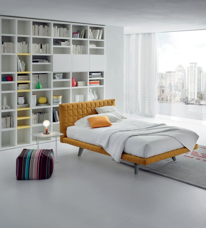 modern upholstered yellow bed for cool teen bedrooms. Black Bedroom Furniture Sets. Home Design Ideas