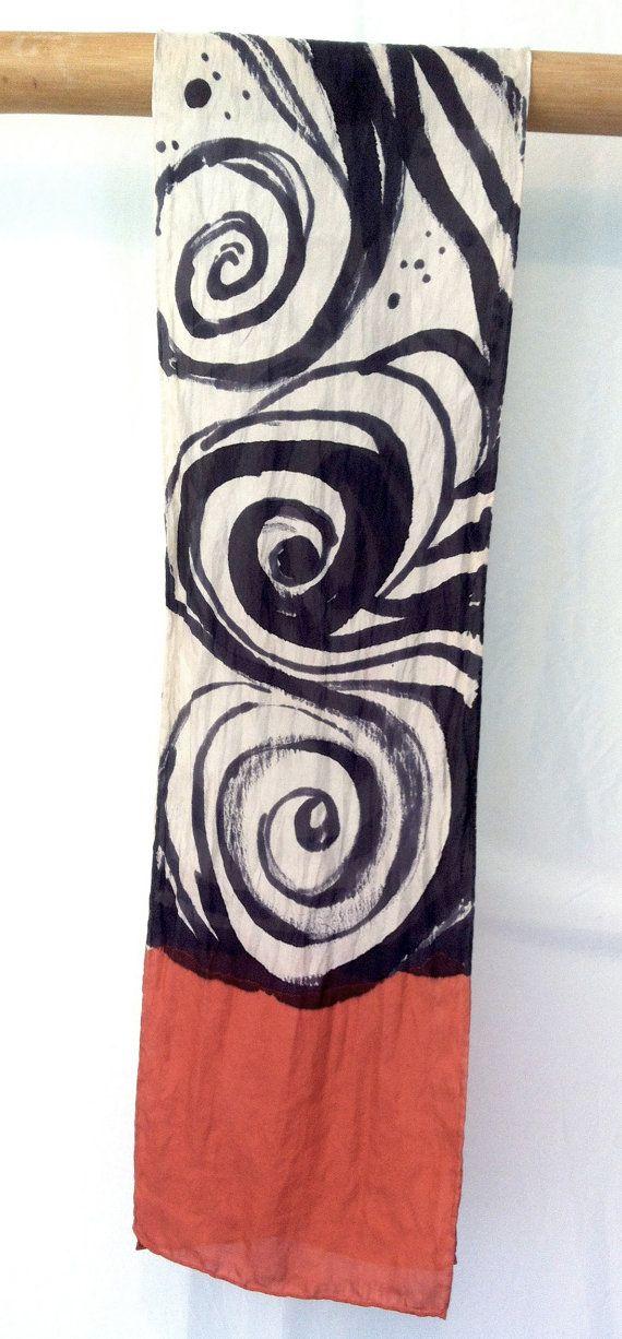 Hand Painted Silk Scarf Zen Wave Red Silk by SilkScarvesTakuyo