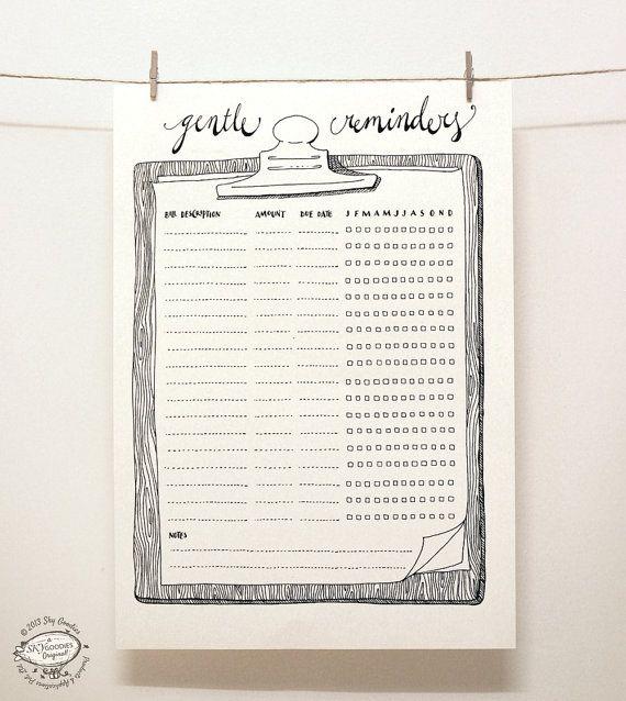 DOODLE Bill Reminder / Organizer  Printable A4 and Letter pdf