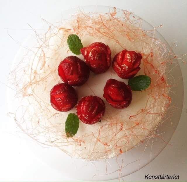 Valentine's strawberry rose tiramisu mousse cake. Gluten free!