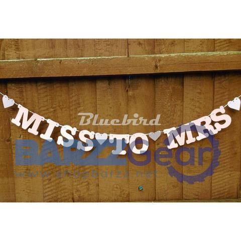 """Miss To Mrs"" Banner Bridal Shower Bachelorette Hen Party Decor"