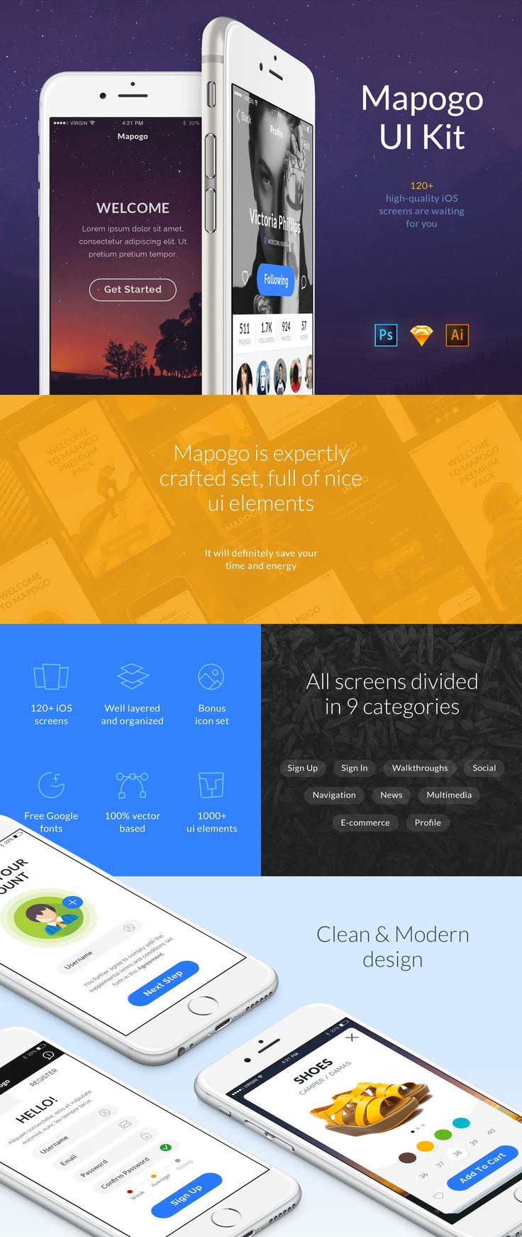 Mapogo is an expertly crafted set, full of nice UIelements. It is a perfect UI Kitfor designers and mobile app developers. All elements arewell organized into 120+ high-quality screens. All screens are divided in 9 categories;Sign in, Sign up, Walkthroughs, Navigation, Social, News, Profile, Multimedia, E-commerce,and carefully assembled in Sketch, Illustrator and Photoshop.  It is worth noting that Mapogo is flexible pack, made with hundreds of elements and objects. And so designing…