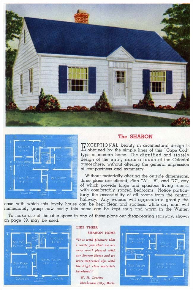 1945 Sterling House Plans   The Sharon   Tiny House Plans   Colonial  Revival Style Cottage