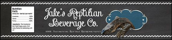 Reptile Birthday Party Water Bottle Labels  2x8.5  by MelindaBryantPhoto, $5.35  Monitor Lizard, chalkboard style, printable, print at home, birthday party, favors, decor, ideas