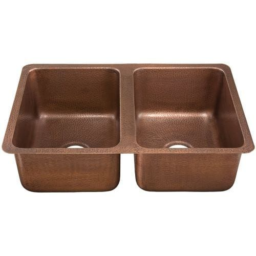 Signature Copper (Brown) BDC-312009 31 x 20 Drop In / Undermount Zamora Hand Hammered Double Bowl Copper Sink