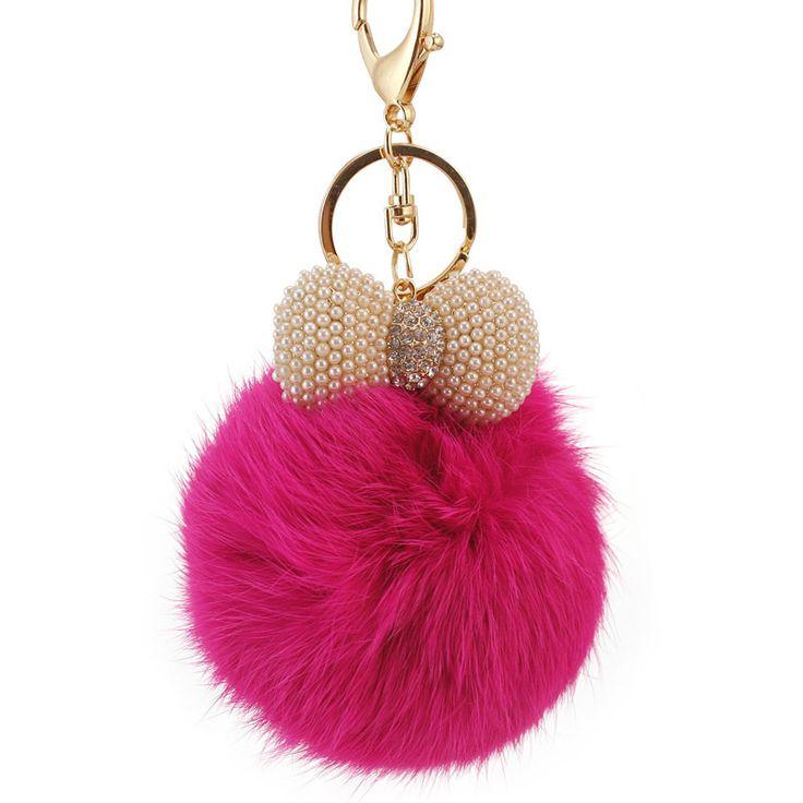 Personalized Simulated Pearl Fur Ball Key Chain Rhinestone Enamel Keychains Luxury Car Accessories Women Key Rings
