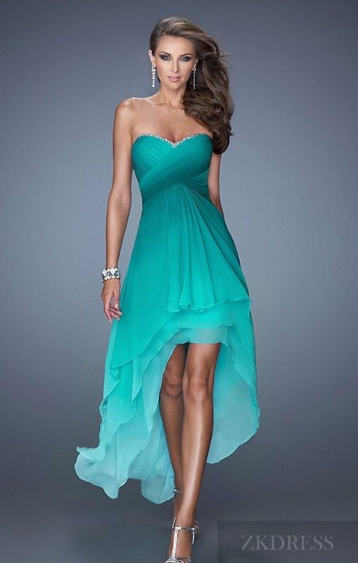 Fashion Natural High Low Sweetheart A-Line Sleeveless Prom Dress