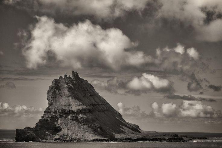 The tiny, but dramatic island of Gasholmur off the coast of Vagar in the Faroe Islands.