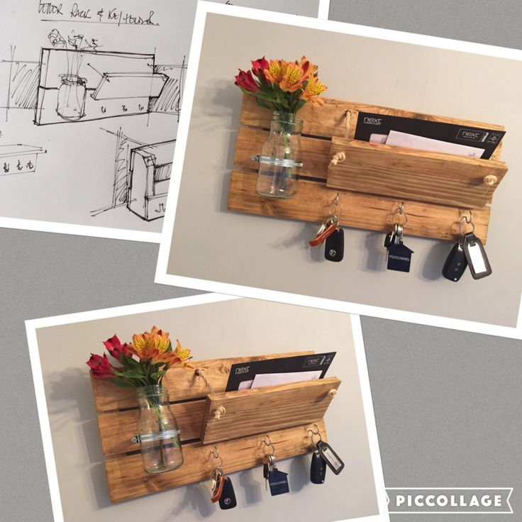 Letter rack with hooks Adjustable front by