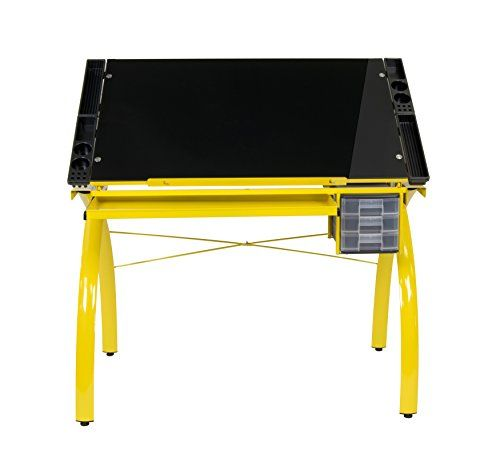 Studio Designs 10078.0 Futura Craft Station Yellow Black Glass, Drafting  Table, Craft Table With