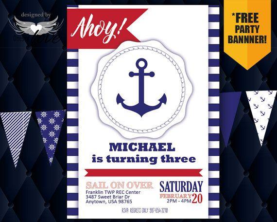 Nautical Birthday Invitation Ahoy Birthday boy first by OnesofLove
