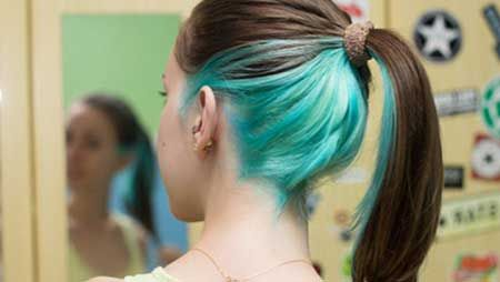 Like this aqua underside hair dye, though I'd make it a smaller section