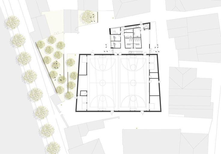 Double gymnasium in Landshut by Hirner & Riehl Architekten, ground floor plan